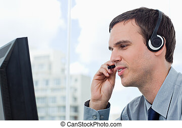 Office worker using a headset