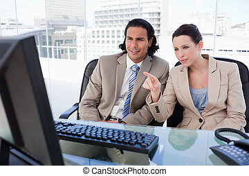 Business team using a computer