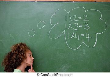 Schoolgirl thinking about algebra in front of a blackboard
