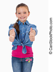 Portrait of a girl with the thumbs up