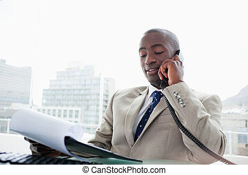 Businessman on the phone while reading a document in his...