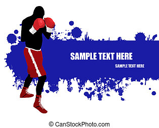 Boxing poster - Grunge poster with a boxer silhouette,vector...