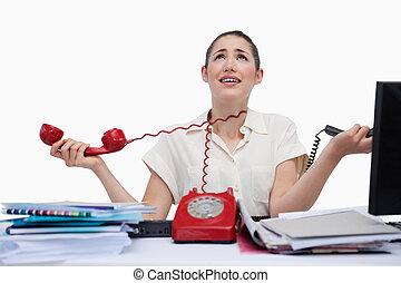 cansado, secretária, responder, telefones