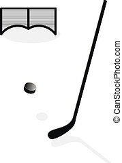 puck hit the stick - Vector drawing the puck hit the stick