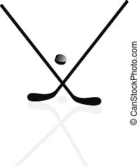 Two hockey sticks and puck in the vector