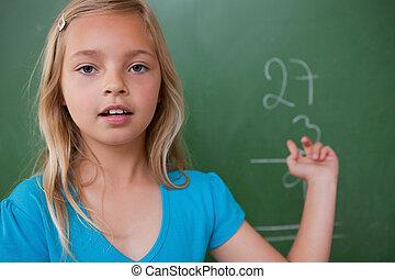 écolière, peu, projection, elle, résultat