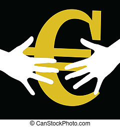hand held euro on black background art vector
