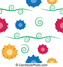 Seamless Flowers with Vine Pattern