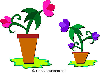 Flower Pots with Pretty Flowers - Here are two plants two...