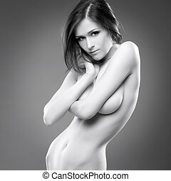 sexy young woman erotic portrait black white - Beautiful...