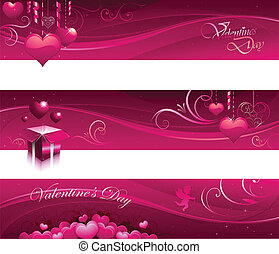 Valentine greeting card banners