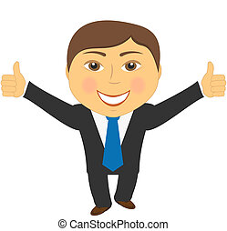 successful man showing thumb up on