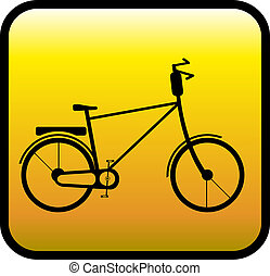 glossy icon with bicycle - glossy yellow icon with retro...