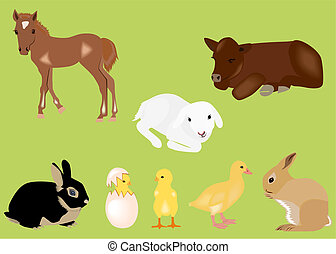 Easter spring baby animals - Illustration of easter spring...