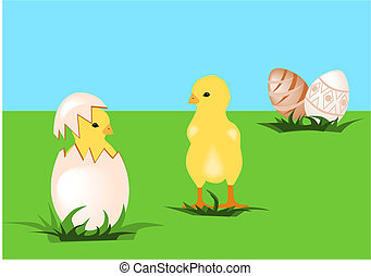 Easter chicks - Illustration of easter chicks with easter...