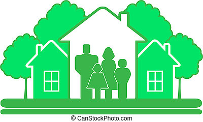 symbol with tree house and family - green eco symbol with...