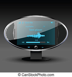 Media player communication center editable vector file
