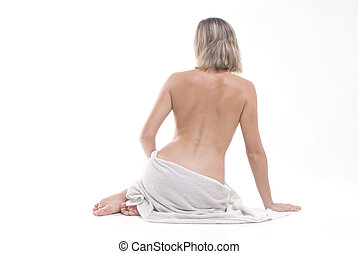 SPA Wellness - a beautiful lady with white towels
