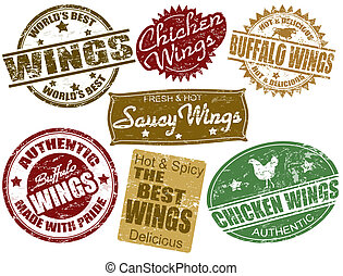 Set of wings stamp - Set of grunge rubber stamps with the...