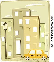 cartoon taxi on city background with house silhouette