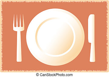 icon of plate fork knife on tablecl
