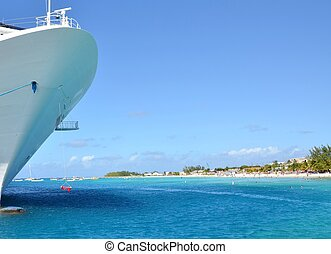 Cruise Vacation - looking at the ships hull of an large...