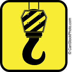 yellow icon with crane hook - yellow glossy icon with crane...