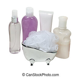 Lotion and Creams with a Scrubber in a Tub - A variety of...