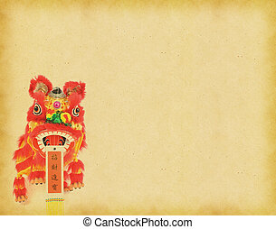 Chinese New Year Decorations--Dancing Lion on vintage paper...