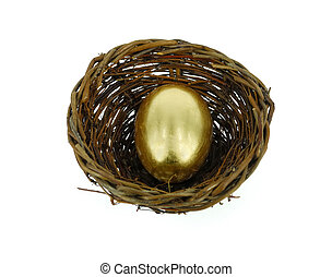 golden egg in bird nest
