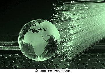 tecnología, tierra, globo, contra, fibra, Óptico, Plano de...