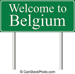 Welcome to Belgium, concept road sign