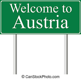 Welcome to Austria, concept road sign