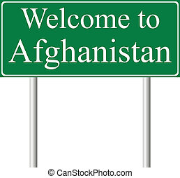Welcome to Afghanistan, concept road sign