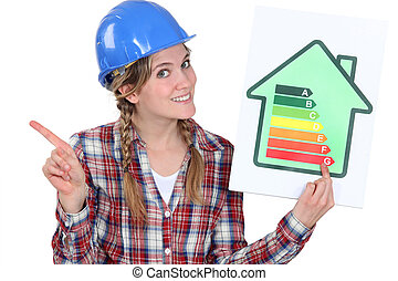 craftswoman holding an energy consumption label