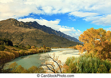Mountain and River in Queenstown - River and Lake From...