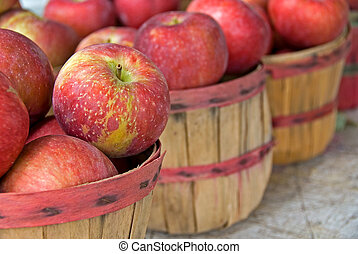 otoño, cesta, manzanas