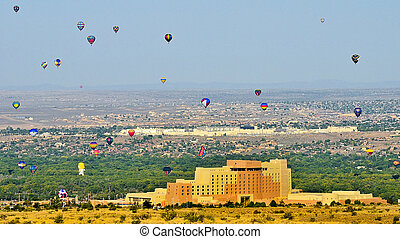 Hot Air Balloons over Albuquerque - Balloons flying over...