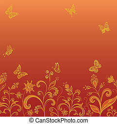Gold flowers and butterflies on red