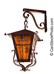 old  lamp - old wrought-iron lamp on a white background