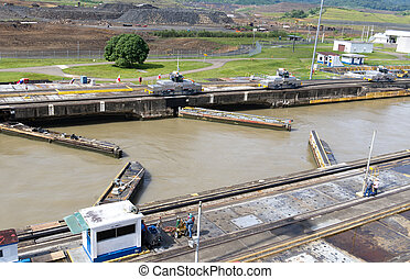 Gates and basin of Pedro Miguel Locks in Panama Canal...