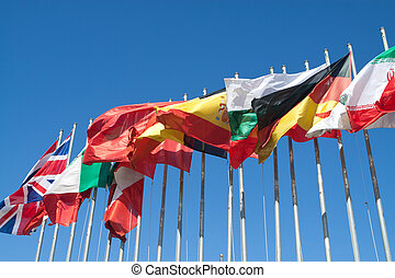 International Flags blowing in the wind.