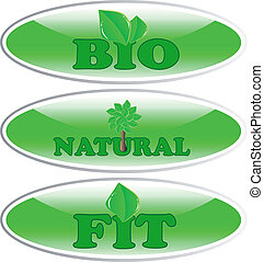 Vector bio, natural and fit sticker