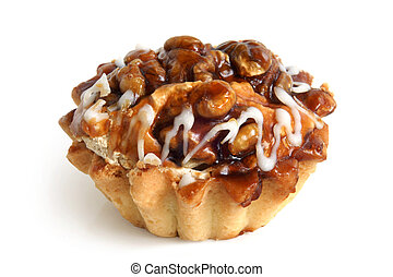 A nutty tart on a white background