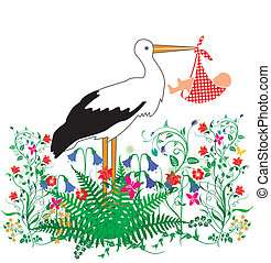 Stork Baby and flowers