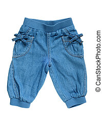 Little girls jean breeches isolated on a white background