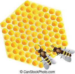 Vector - working bees on honeycomb