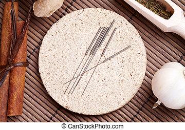 acupuntura, agujas, Tcm, hierbas