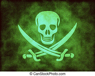 Jolly Roger skull on the poisonous green background