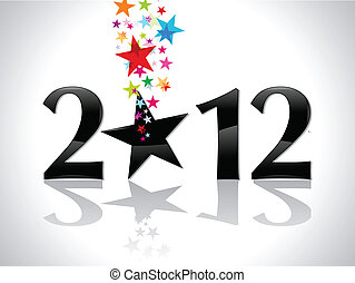 abstract new year text with stars vector illustration